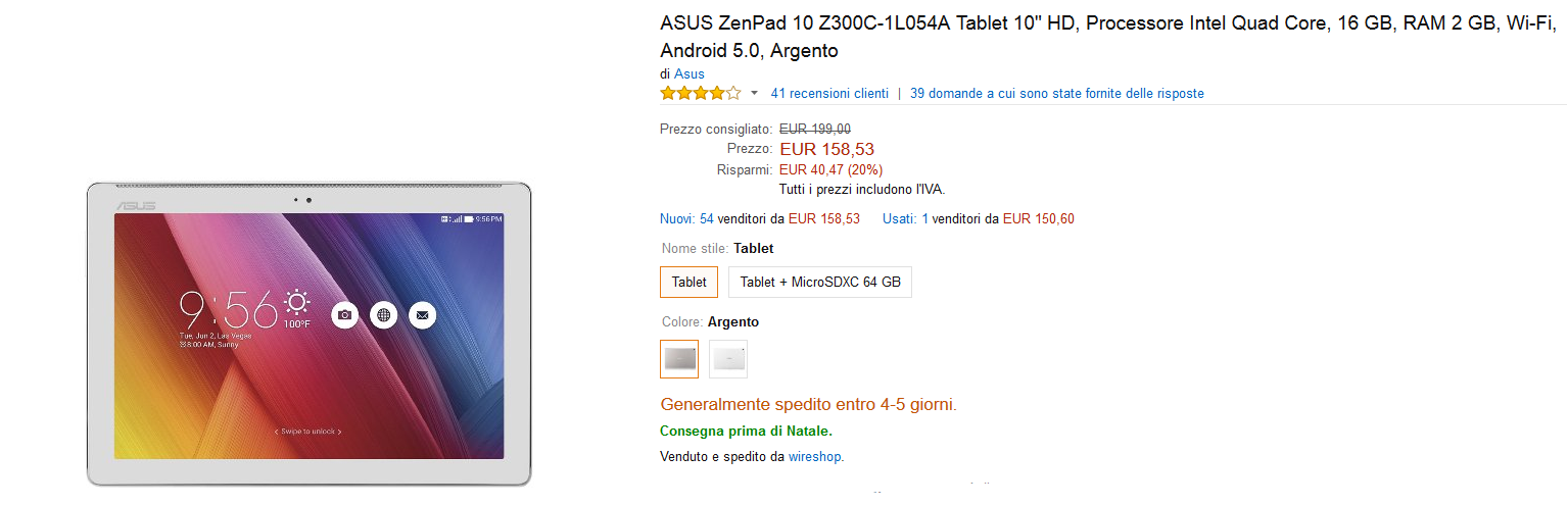 Disponibile su amazon il tablet ZenPad 10 di Asus in offerta.
